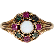 Antique Victorian Opal Ruby Garnet Cluster Ring Hallmarked 1865