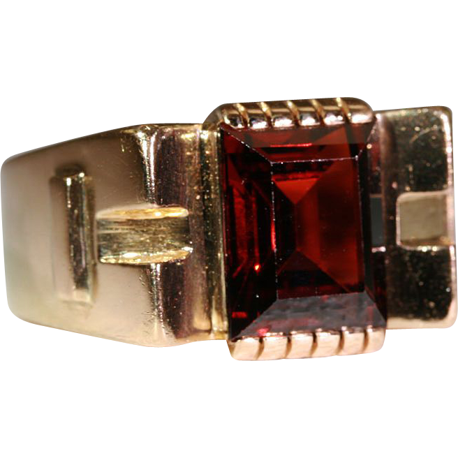Clearance Sale!! - Vintage 1950's Retro Garnet & 18k Gold Cocktail Ring