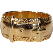 Antique Edwardian Gold Buckle Band Ring 18k Gold