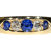 Victorian 5 Stone Sapphire and Diamond Ring in 18k Gold