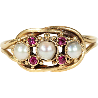 Victorian Gold Pearl and Ruby Knot Ring
