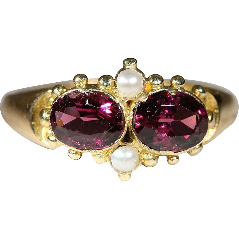 Antique 15k Victorian Garnet and Pearl Ring, Hallmarked Birmingham, England 1864