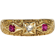 Antique Victorian Diamond and Ruby Band Ring in 18k Gold, Stacking, Hallmarked 1877