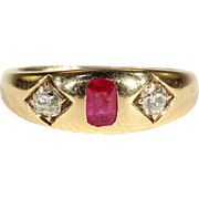 Antique Victorian Ruby and Diamond Ring, Gypsy Set in 18k Gold