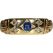 Antique Victorian Diamond & Sapphire Band Ring, 18k Gold Hallmarked 1900