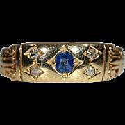 Antique Victorian Diamond & Sapphire Band Ring, 18k Gold Hallmarked 1900