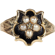 Antique Victorian Black Enamel Memorial Ring with Pearls and Diamond in 15k Gold