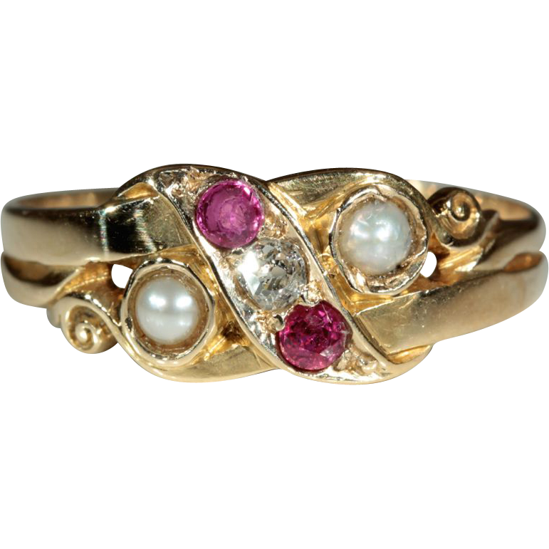 antique 18k ruby and pearl ring