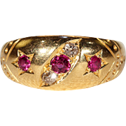Antique Victorian Ruby Diamond Band Ring
