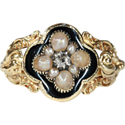Antique Pearl, Diamond and Black Enameal Memorial Mourning Ring