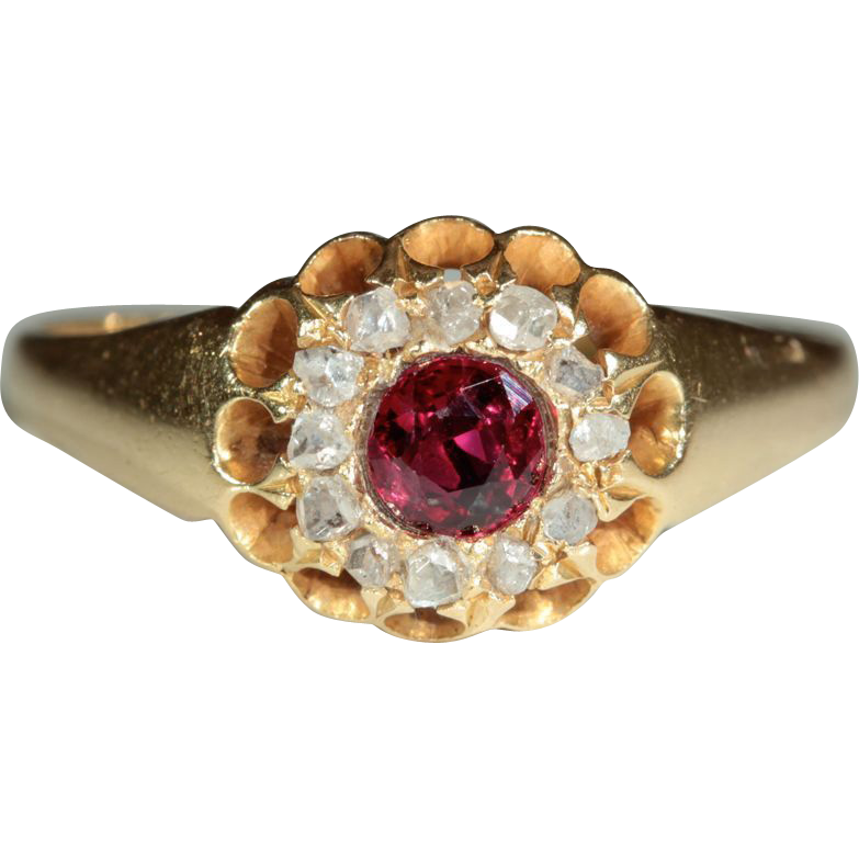 Antique 18k Victorian Ruby and Rose Cut Diamond Ring, C.1890