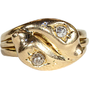 Antique Double Headed Diamond Snake Ring in 18k Gold, Hallmarked 1898