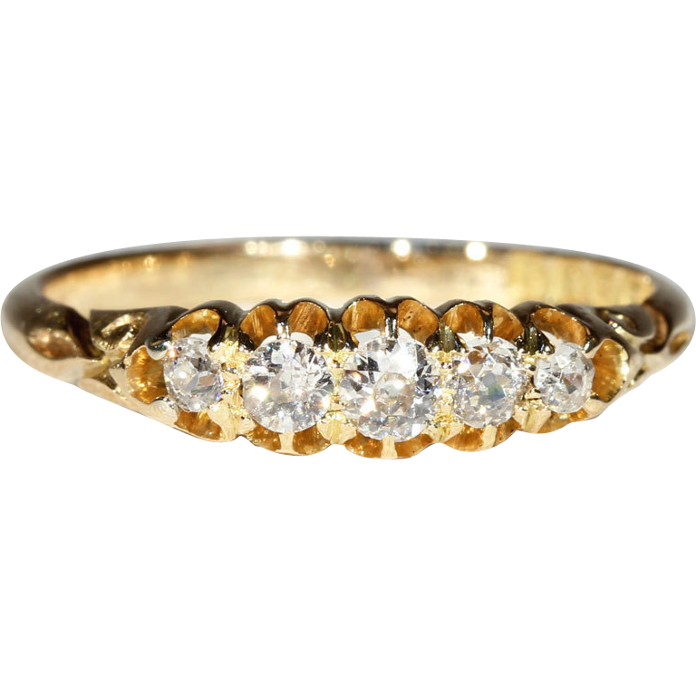 Antique 5 Stone Diamond Edwardian Ring, 18k Gold