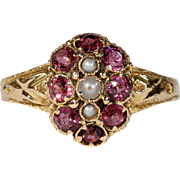 Antique Victorian Garnet Pearl Ring