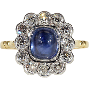 Vintage Cabochon Sapphire and Diamond Cluster Ring in 18k Gold and Platinum