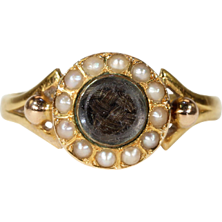 Victorian Gold Pearl and Hair Ring Hallmarked 1859