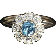 Vintage Retro Aquamarine and and Diamond Cluster Ring, Fabulous!