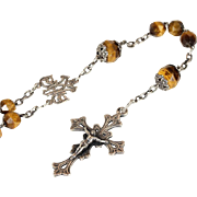 Antique French Silver and Tigers Eye Rosary, c. 1880