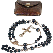 RESERVED Antique Sterling Silver and Bloodstone French Rosary, c. 1880 in Leather Pouch