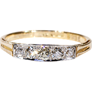 Edwardian 5 Stone Diamond Ring in 18k Gold and Platinum