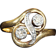 "Antique French Art Nouveau ""Toi et Moi"" Diamond Ring in 18k Gold"