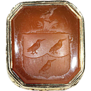 Antique Georgian Armorial Seal, Carnelian and 18k Gold c. 1820