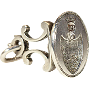 Antique Dutch Silver Fob Seal Crest Pendant, c. 1910