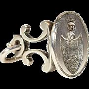 Antique Dutch Silver Fob Seal Crest Pendant, c. 1910