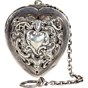 Victorian Silver Heart Shaped Tea Ball 1891, William Comyns and Sons Ltd.