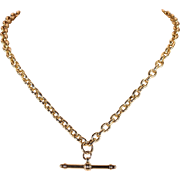 Edwardian Gold Watch Chain Necklace 15 karat