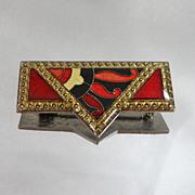Vintage Pierre Bex Brooch. Art Deco Style. Red Enamel. Lucite.