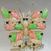 Vintage Butterfly Brooch. Regency Style. Pink. Green. White Rhinestones