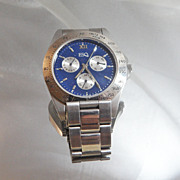 Vintage Esquire Watch. Men's. Silver and Blue. Designer Watch.