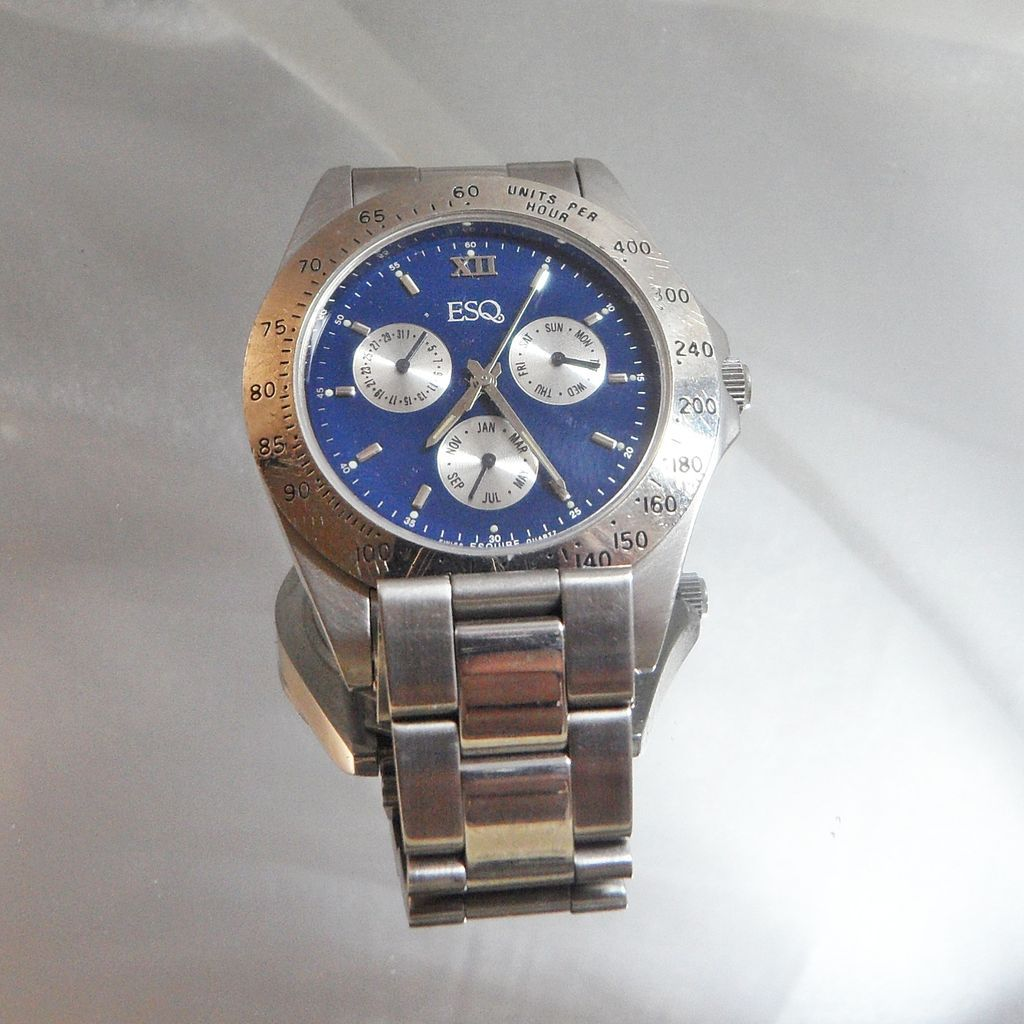vintage esquire watch men s silver and blue designer watch vintage esquire watch men s silver and blue designer watch