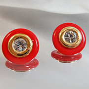 Vintage KJL Earrings. Interchangeable. Kenneth Jay Lane. Rhinestones. Goldtone. Red Lucite.