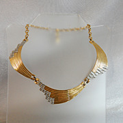 Vintage Pierre Cardin Necklace. 1960s Runway Choker. Rare Designer. Bold Gold. Silver. Book Chain.