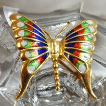 Vintage 18k Gold Butterfly Brooch. Italy. Blue. Red. Green.