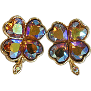 Vintage Weiss Rhinestone Earrings. Shamrocks. 4 Leaf Clover. AB Rhinestones. Purple Gold.
