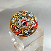 Vintage Mosaic Brooch. Micro Mosaic Floral. Italy. Red. Green.