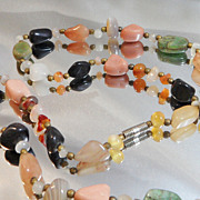 Vintage Natural Stone Necklace. 1970s. Agate Quartz Onyx   Turquoise