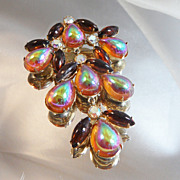 Vintage Dragon's Breath Rhinestone Brooch. Huge. Jelly Opal. Browns and Amber. AB Rhinestones. Dangling.