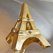 Vintage Eiffel Tower Brooch. Gold Tone. Rhinestones. Large 3-D Paris Pin.