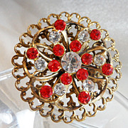 Vintage Rhinestone Brooch. Red Clear Rhinestones. Pressed Brass Pin.