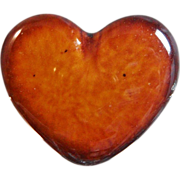 Vintage Heart Brooch. Caramel Brown Glazed Porcelain. Burnt Toast Edges.