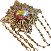 Vintage Dragon's Breath Brooch. Chatelaine. Jelly Opal. Dangling Chains. Ladder Chain. Hook Chain.