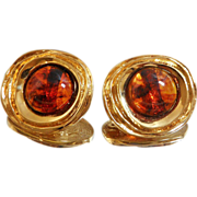 Vintage St John Earrings 22k Gold Plated and Faux Amber Lucite Tortoiseshell