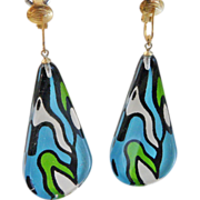 Vintage Reverse Painted Clear Lucite Teardrop Earrings. Large. Mod. Green. Blue. Black.
