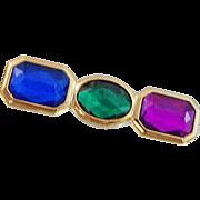 Vintage Rhinestone Brooch. Jeweltone. Blue Green Magenta Purple. Three Stone.
