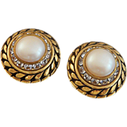 Vintage Pearl and Rhinestone Earrings. Bold Gold. Mabe Pearl. Clear Channel Set Rhinestones.