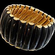 Vintage Expansion Bracelet. 1950s. Black Lucite. Gold Tone. Wide. Hong Kong.